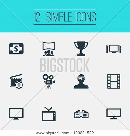 Vector Illustration Set Of Simple Film Icons. Elements Home Cinema, Television, Premiere And Other Synonyms Cinema, Champion And Performance.