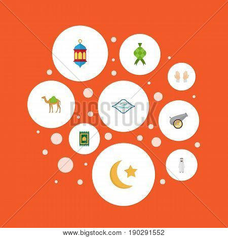 Flat Icons New Lunar, Islamic Lamp, Malay And Other Vector Elements. Set Of Religion Flat Icons Symbols Also Includes Hump, Star, Islamic Objects.