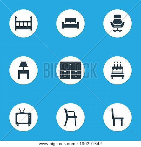 Vector Illustration Set Of Simple Furniture Icons. Elements Bedside Socle, Locker, Crib And Other Synonyms Television, Birthday And Tv.
