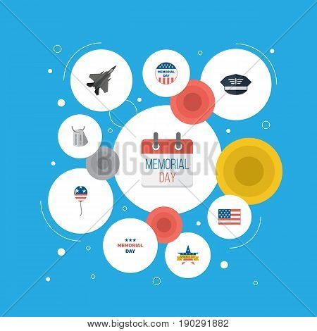 Flat Icons History, Aircraft, Decoration And Other Vector Elements. Set Of History Flat Icons Symbols Also Includes Mom, Plane, Memorial Objects.