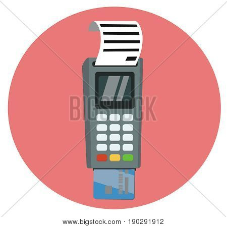 Debit or credit card inserted into the pos terminal with printed receipt. Vector illustration in circle