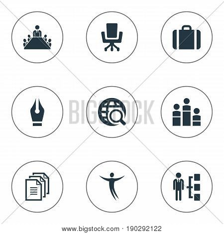 Vector Illustration Set Of Simple Human Icons. Elements Boardroom, Group, Pen Nib And Other Synonyms Paper, Signature And Structure.