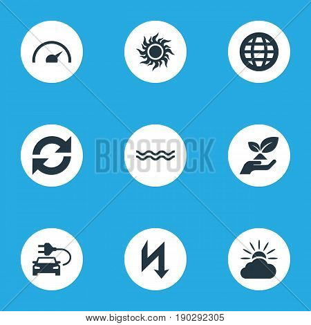 Vector Illustration Set Of Simple Power Icons. Elements Automobile Fuel, Weather, Solar Energy And Other Synonyms Automobile, Weather And Forecast.