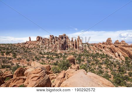 Rock formations in Arches National Park, Utah.
