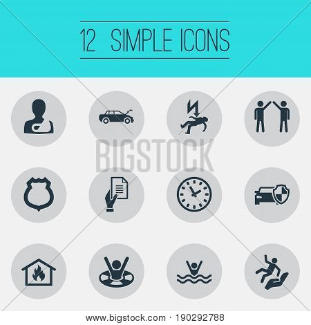 Vector Illustration Set Of Simple Fuse Icons. Elements Agreement, Police Badge, Job Accord And Other Synonyms Business, Badge And Clock.