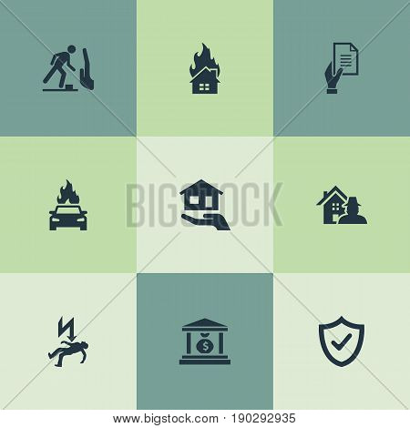 Vector Illustration Set Of Simple Safeguard Icons. Elements Banking House, Estate, Safeguard And Other Synonyms House, Falling And Property.