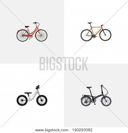 Realistic Timbered, Retro, Equilibrium And Other Vector Elements. Set Of Bicycle Realistic Symbols Also Includes Equilibrium, Folding, Retro Objects.