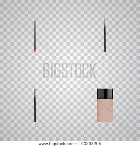 Realistic Brow Makeup Tool, Concealer, Brush And Other Vector Elements. Set Of Maquillage Realistic Symbols Also Includes Brow, Cosmetics, Eye Objects.