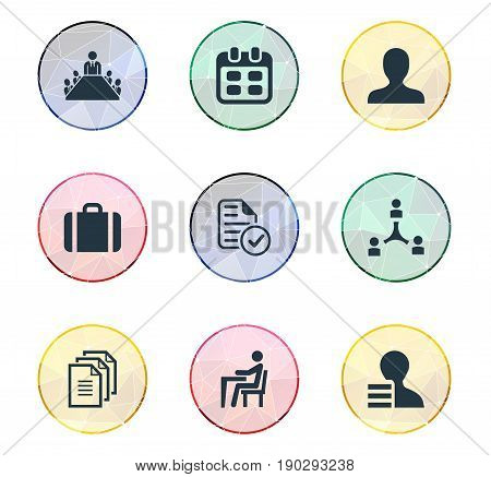Vector Illustration Set Of Simple Resources Icons. Elements Approved Document, Record, Human And Other Synonyms Briefcase, Employer And Meeting.