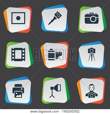 Vector Illustration Set Of Simple Photographer Icons. Elements Apparatus Photographer, Photo Tape, Camcorder And Other Synonyms Enrollment, Man And Printer.