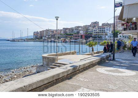 SARANDA, ALBANIA - MAY 18: View of the city Saranda, most important tourist attraction of the Albanian Riviera on May 18, 2017 in Saranda, Albania.