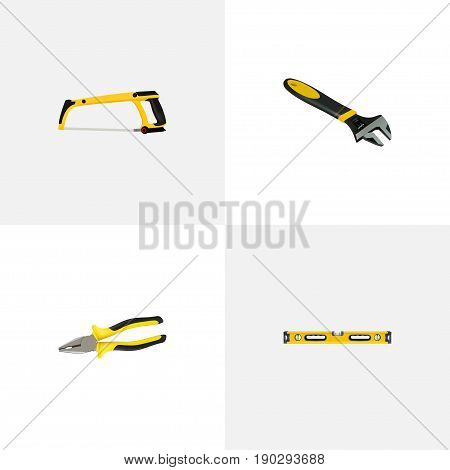 Realistic Wrench, Plumb Ruler, Pliers And Other Vector Elements. Set Of Instruments Realistic Symbols Also Includes Hacksaw, Pincers, Pliers Objects.