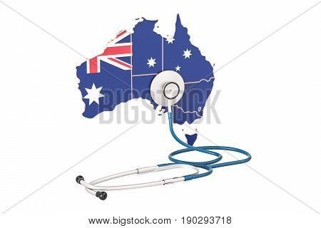 Australian map with stethoscope national health care concept 3D rendering