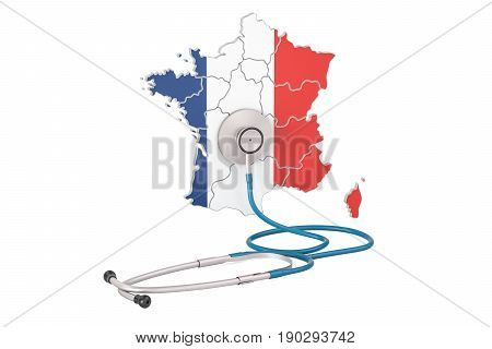 French map with stethoscope national health care concept 3D rendering