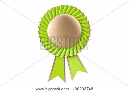 Green winning award prize medal or badge with ribbons. 3D rendering isolated on white background