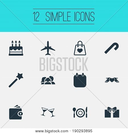 Vector Illustration Set Of Simple Holiday Icons. Elements Aircraft, Love Protection, Striped Candy Synonyms Wand, Calendar And Cash.