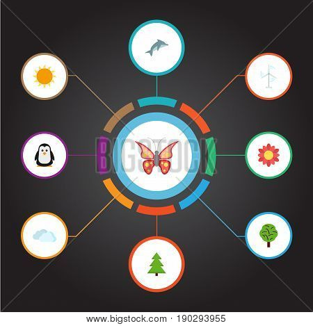 Flat Icons Electric Mill, Beauty Insect, Playful Fish And Other Vector Elements. Set Of Environment Flat Icons Symbols Also Includes Penguin, Spruce, Fish Objects.