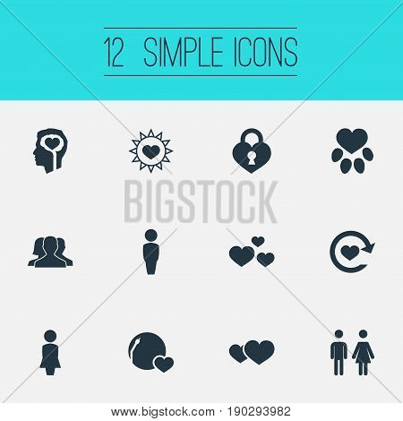 Vector Illustration Set Of Simple Valentine Icons. Elements Amour, Passion, Romance And Other Synonyms Toilet, Sign And Summer.