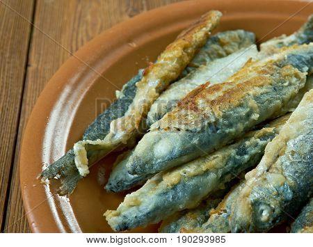 Finnish style Fried whitefish- friteerattu nahkiainen. close up.