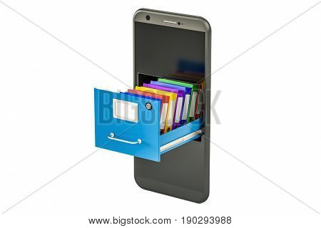 Phone data storage. Smartphone with folders in filing cabinet 3D rendering