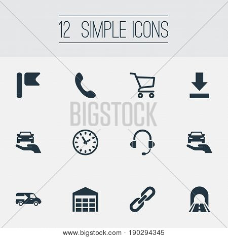 Vector Illustration Set Of Simple Logistics Icons. Elements Auto Insurance, Road, Relation And Other Synonyms Headphones, Call And Store.
