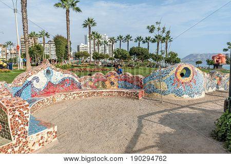 Lima, Peru- March 12, 2017:El Parque del Amor Lovers Park Miraflores Lima Peru