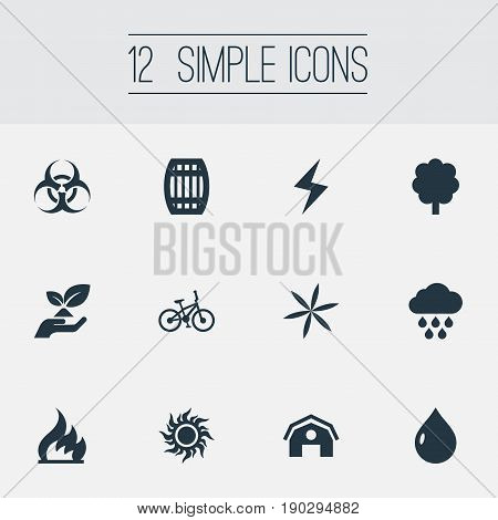 Vector Illustration Set Of Simple Energy Icons. Elements Biology Peril, Care, Floret And Other Synonyms Cask, Bio And Farm.
