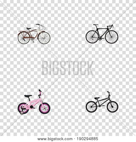 Realistic Extreme Biking, Childlike, Exercise Riding And Other Vector Elements. Set Of Bicycle Realistic Symbols Also Includes Extreme, Childlike, Bike Objects.