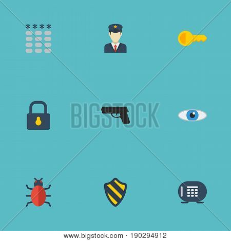 Flat Icons Guy, Clue, Safe And Other Vector Elements. Set Of Procuring Flat Icons Symbols Also Includes Keys, Keypad, Trojan Objects.