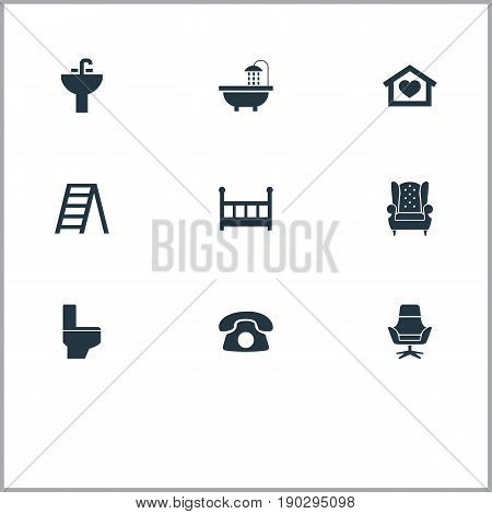Vector Illustration Set Of Simple Furniture Icons. Elements Bathroom, Dwelling, Ring Up And Other Synonyms Call, Work And Footway.
