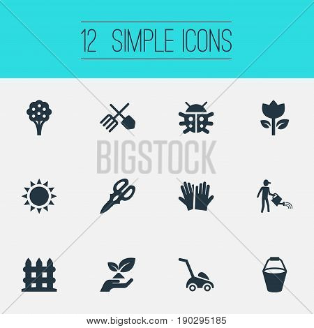 Vector Illustration Set Of Simple Garden Icons. Elements Apple Timber, Blossom, Parapet And Other Synonyms Save, Gardening And Machine.