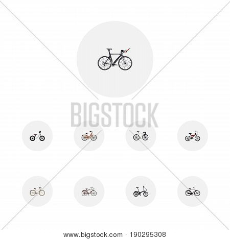 Realistic Retro, Road Velocity, Journey Bike And Other Vector Elements. Set Of Bicycle Realistic Symbols Also Includes Old, Track, Velocipede Objects.