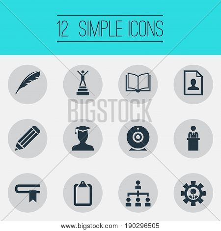 Vector Illustration Set Of Simple Training Icons. Elements Calligraphy, Curriculum Vitae, Guidebook And Other Synonyms Ip, Resume And List.