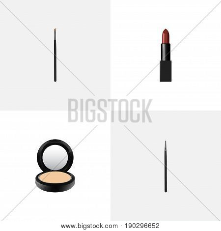Realistic Blusher, Pomade, Cosmetic Stick And Other Vector Elements. Set Of Maquillage Realistic Symbols Also Includes Contour, Pomade, Brush Objects.