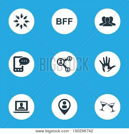 Vector Illustration Set Of Simple Mates Icons. Elements Bff, Crowd, Helpful And Other Synonyms Beverage, Team And Network.