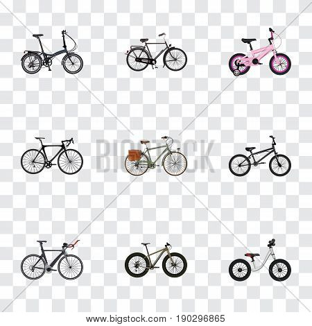 Realistic Childlike, Competition Bicycle, Folding Sport-Cycle And Other Vector Elements. Set Of Bicycle Realistic Symbols Also Includes Equilibrium, Bike, Working Objects.