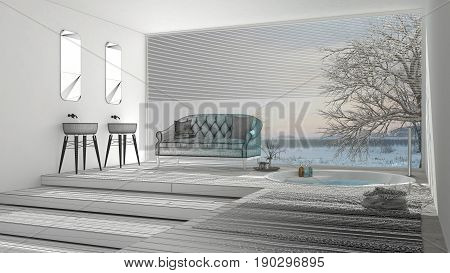 Unfinished project of classic bathroom with big window sketch abstract interior design, 3d illustration