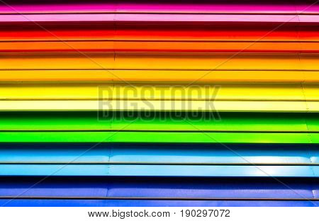 Elements of architecture from panels of rainbow colors