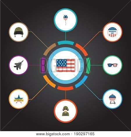 Flat Icons Aircraft, Barbecue, Military Man And Other Vector Elements. Set Of Day Flat Icons Symbols Also Includes Soldier, Brazier, Headgear Objects.