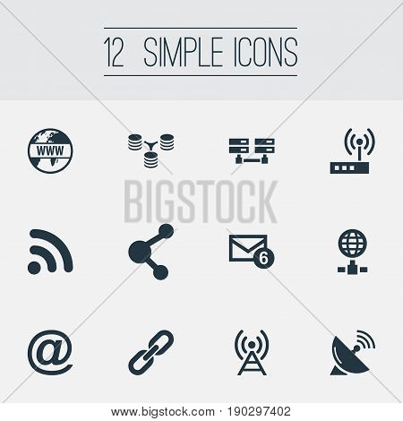 Vector Illustration Set Of Simple Web Icons. Elements Antenna, Nucleus, Wifi And Other Synonyms Database, Wifi And Signal.