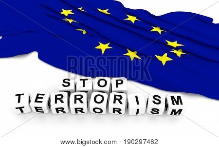 Europe Union Flag And Write Stop Terrorism.