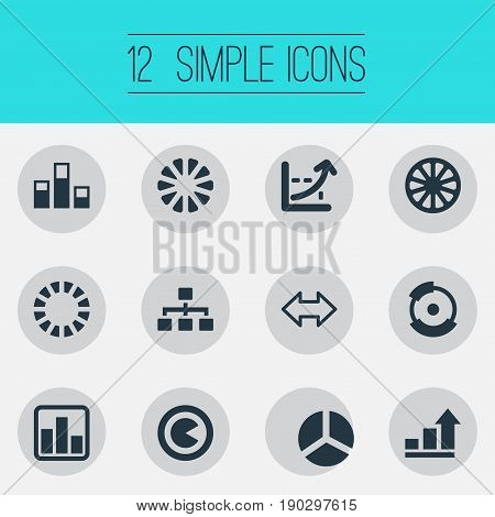 Vector Illustration Set Of Simple Diagram Icons. Elements Bowl, Contour, Piece And Other Synonyms Segment, Statistics And Information.