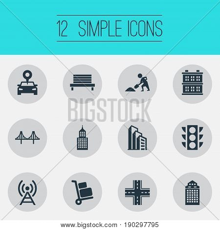 Vector Illustration Set Of Simple Infrastructure Icons. Elements Signal Transmitter, Manufacture, Location And Other Synonyms Crossroad, Rope And Luggage.