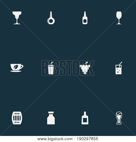 Vector Illustration Set Of Simple Beverage Icons. Elements Alcohol, Brandy, Lager Synonyms Drink, Wineglass And Cup.