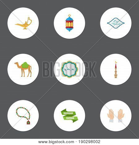 Flat Icons Bead, Islamic Lamp, Ramadan Kareem And Other Vector Elements. Set Of Ramadan Flat Icons Symbols Also Includes Eid, Mubarak, Hand Objects.