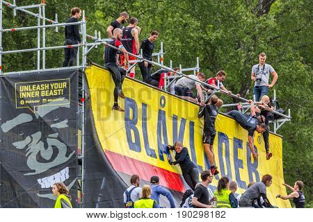 Stockholm Sweden - June 03 2017: Side view with group of young people hanging climbing and standing on an obstacle wall trying to complete the annual obstacle course event Toughest Stockholm.