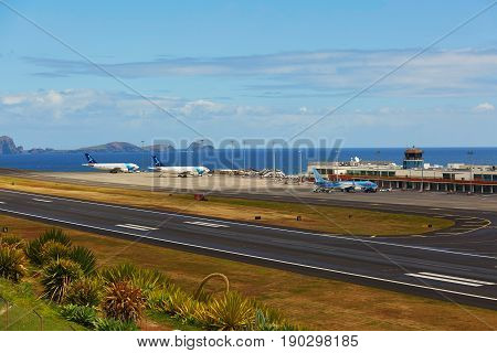Funchal - March 24: View Of Runway In Cristiano Ronaldo International Airport On March 24, 2017 In F