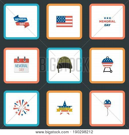 Flat Icons Soldier Helmet, Memorial Day, Firecracker And Other Vector Elements. Set Of Memorial Flat Icons Symbols Also Includes Banner, Memorial, Soldier Objects.
