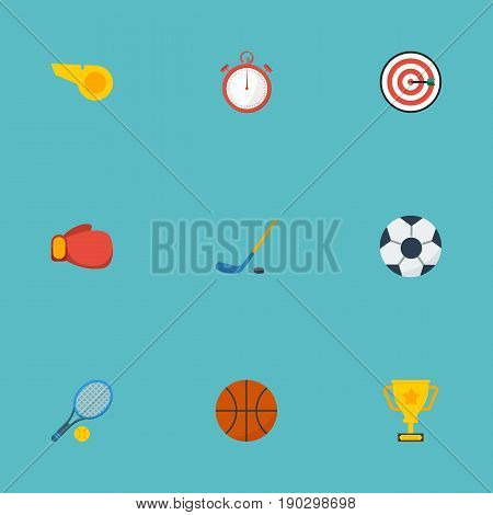 Flat Icons Boxing, Basket, Rocket And Other Vector Elements. Set Of Fitness Flat Icons Symbols Also Includes Worn, Arrow, Basket Objects.