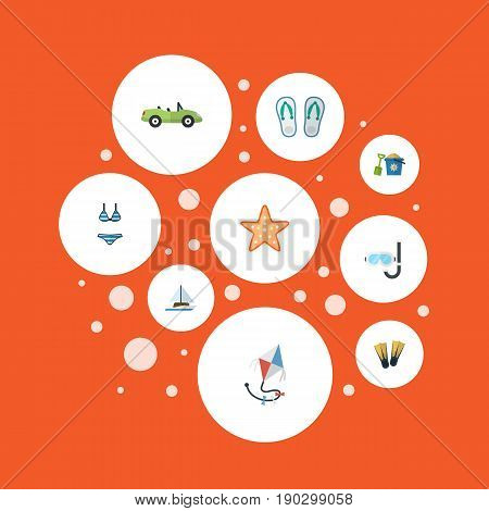 Flat Icons Sea Star, Sailboard, Shovel And Other Vector Elements. Set Of Beach Flat Icons Symbols Also Includes Car, Bikini, Shovel Objects.